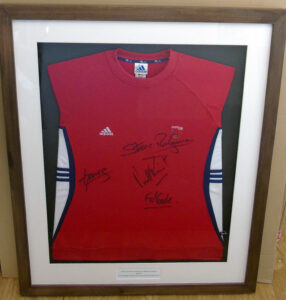 Signed Olympic sweatshirt framed