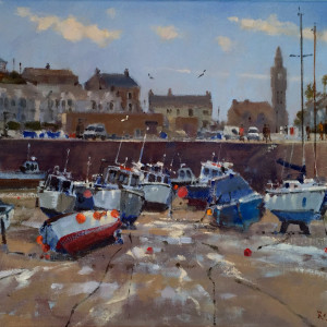 Roger Curtis – Warm Day in the Harbour, Porthleven