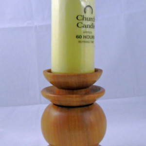 Dave Cusick – Monterey pine candlestick (with church candle)