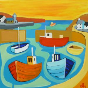 David Hosking – Porthleven Harbour with Six Boats