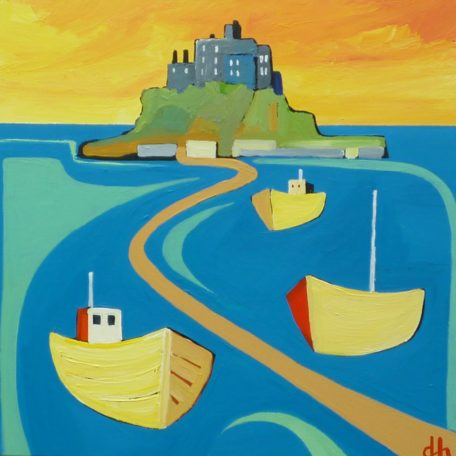 DH – St Michaels Mount with three boats