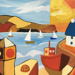 David Hosking – Six Boats at Porthleven