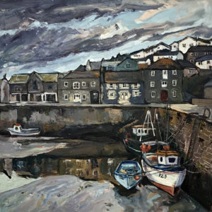 Susan Isaac – Low Tide across the Inner Harbour, Porthleven