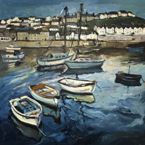 Susan Isaac – Moored Boats in the Inner Harbour, Porthleven