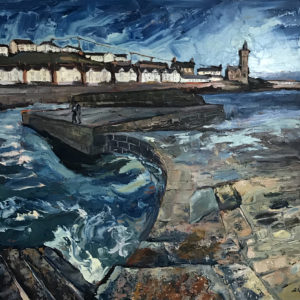 Susan Isaac – Rolling Waters at the Quayside, Porthleven